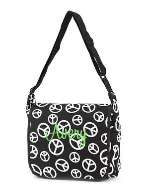Monogrammed Black & White Peace Messenger Bag  - www.tinytulip.com