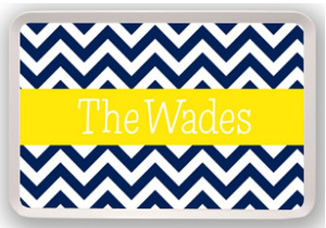 Personalized Melamine Tray  ~ Monogrammed  - www.tinytulip.com Navy Chevron with Solid Ribbon Blake Font in Yellow