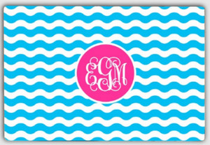Personalized Cutting Board ~ Monogrammed - www.tinytulip.com Turquoise Waves Pattern with Solid Circle Hot Pink Interlocking Font