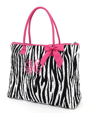 Monogrammed Zebra Quilted Tote  www.tinytulip.com Hot Pink Trim Hot Pink Interlocking Font