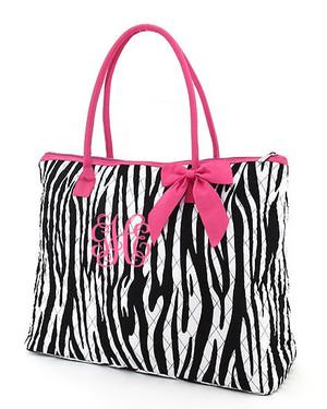 Monogrammed Zebra Quilted Tote  www.tinytulip.com Hot Pink Trim Hot Pink Interlocking Font