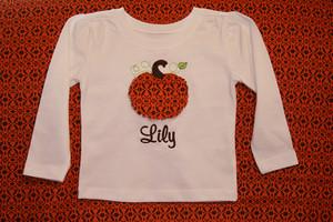 Monogrammed Raggy Pumpkin Applique Shirt www.tinytulip.com