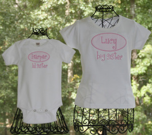 Big Sister Little Sister Seersucker Applique Shirt Onesie Monogrammed