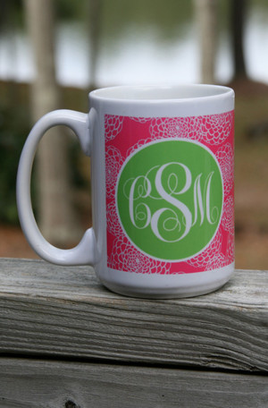 Monogrammed Coffee Cup www.tinytulip.com Lilly Pink Zinnia Pattern with Solid Circle Lime Green Emma Script Font 15 oz.