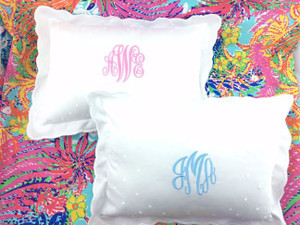 Monogrammed Scallop Baby Pillow Emma Font in Pink and Master Script in Baby Blue  www.tinytulip.com