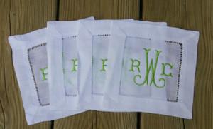 Monogrammed Hemstitch Cocktail Napkins   Set of 4  www.tinytulip.com Lime Green Arabesque Font