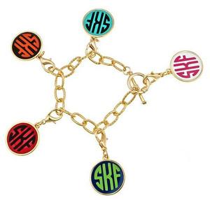 Gold Fashion Enamel Monogram Charm Toggle Bracelet   www.tinytullip.com