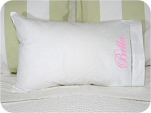 Monogrammed Hemstitch Baby Pillowcase  www.tinytulip.com Pink Fancy Script