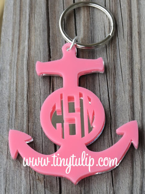 Monogrammed Acrylic Anchor Keychain  www.tinytulip.com Pink Top Acrylic Color with Mirror Bottom Layer