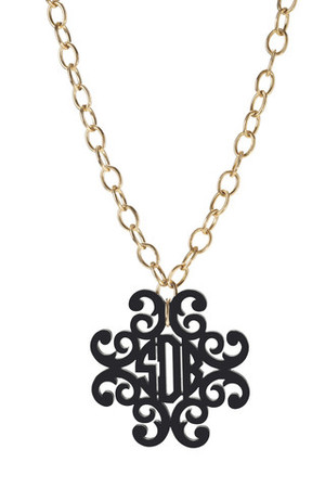 Acrylic Filigree Cross Monogram Necklace  www.tinytulip.com