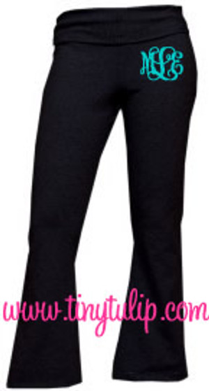 Monogrammed Yoga Work Out Pants  www.tinytulip.com Turquoise Interlocking Font