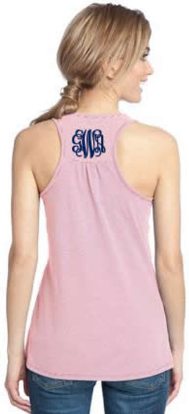Monogrammed Stripe Racerback Tank  www.tinytulip.com Coral Stripe Tank with Navy Interlocking Monogram