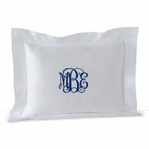 Small Monogrammed Linen Boudoir Baby Pillow Sham White with Navy Interlocking Monogram