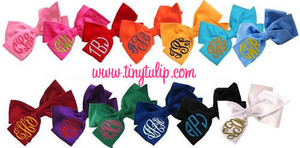 Monogrammed Solid Cotton Hair Bow  www.tinytulip.com