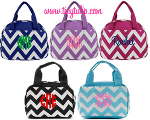 Monogrammed Chevron Lunch Tote  www.tinytulip.com