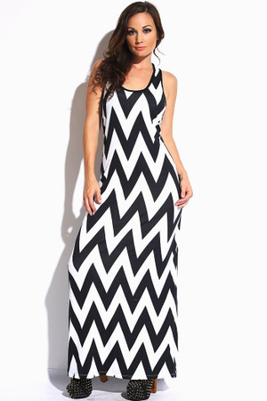 Black & White Chevron Maxi Dress Free Shipping www.tinytulip.com