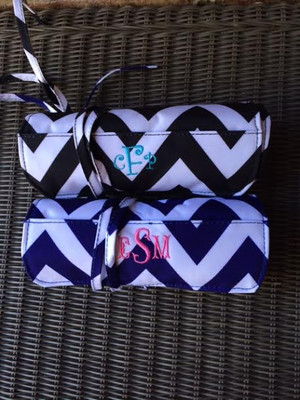 Monogrammed Chevron Mini Cosmetic Roll Up Bag www.tinytulip.com