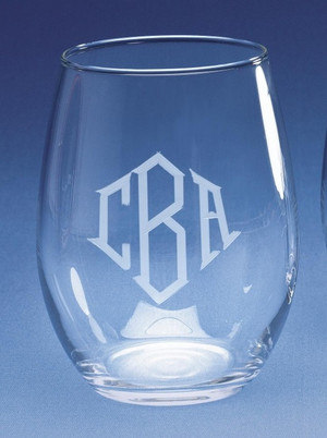 Monogrammed Stemless Wine Glass www.tinytulip.com