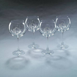 Monogrammed Set of 4 Engraved Balloon Wine Glasses www.tinytulip.com