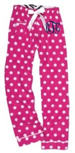 Monogrammed Flannel Polka Dot Lounge Pajama Pants  www.tinytulip.com
