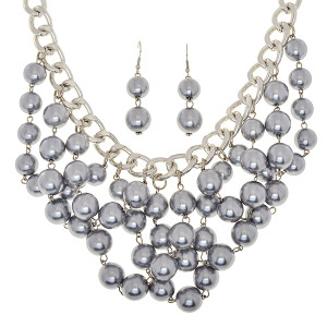 Silver Beaded Bib Chain Necklace and Earring Set www.tinytulip.com