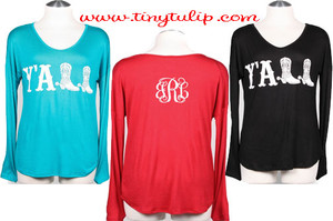 Monogrammed Y'All Shirt www.tinytulip.com