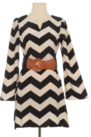 Black Chevron Belted Dress www.tinytulip.com