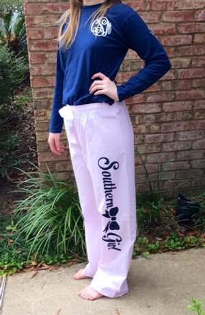 Southern Girl Bow Seersucker Lounge Pants www.tinytulip.com