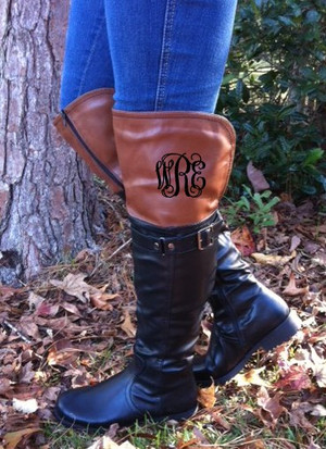 Monogrammed Two Toned Colorblock Black and Brown Riding Boots Style 5 www.tinytulip.com