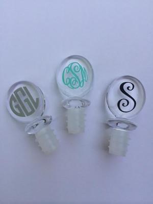 Monogrammed Acrylic Wine Stopper www.tinytulip.com