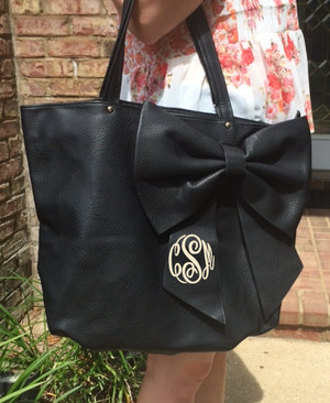 Monogrammed Bow Shoulder Purse  www.tinytulip.com Master Script font with Cream Thread on a Black Purse