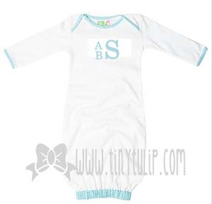 Monogrammed Blue Seersucker Trim Baby Gown www.tinytulip.com Stacked Block in Blue
