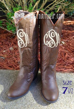 Monogrammed Brown Cowboy Western Boots Size 7 1/2 www.tinytulip.com Cream Master Script Font
