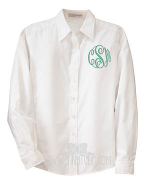 Monogrammed Ladies White Oxford Shirt www.tinytulip.com