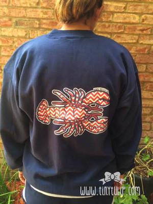 Monogrammed Chevron Lobster Sweatshirt www.tinytulip.com