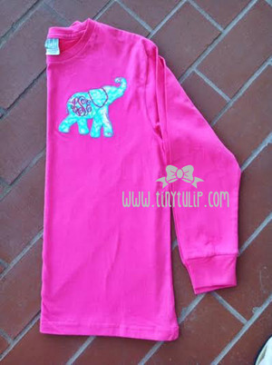 Monogrammed Lilly Pulitzer Elephant Applique Tshirt www.tinytulip.com Turquoise Thread with Hot Pink Monogram on Lobstahh Roll
