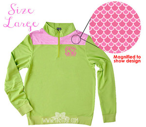Monogrammed Green Pink Scales Pullover Large www.tinytulip.com