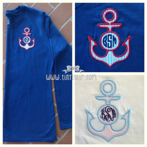 Monogrammed Anchor Applique Tshirt www.tinytulip.com