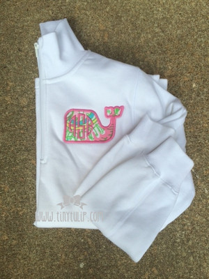Monogrammed Lilly Pulitzer Whale Quarter Zip Pullover   www.tinytulip.com Chin Chin Fabric with Preppy Pink Circle Font