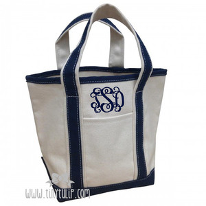 Monogrammed Canvas Navy Small Boat Tote www.tinytulip.com Navy Interlocking