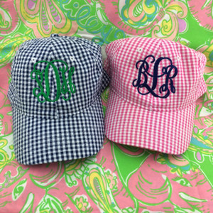 Monogrammed Hot Pink Gingham Hat www.tinytulip.com
