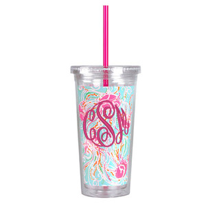 Monogrammed Lilly Pulitzer Acrylic Tumbler with Straw Jellies Be Jammin www.tinytulip.com