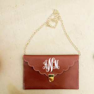 Monogrammed Scallop Envelope Latch Clutch Cross Body Purse  www.tinytulip.com Brown with White Emma Font
