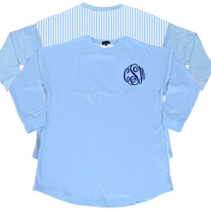 Monogrammed Blue Seersucker Seaside Shirt www.tinytulip.com Navy with Master Script Font