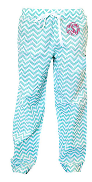 Monogrammed Chevron Teal Lounge Pants www.tinytulip.com Preppy Pink Master Script Font