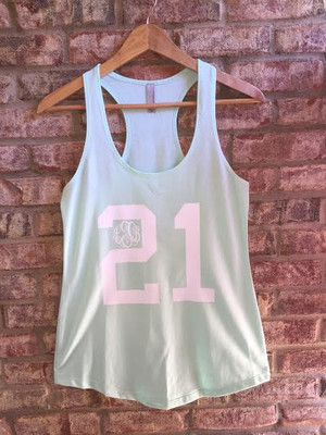 Monogrammed Birthday Racerback Tank www.tinytulip.com  Mint Tank with White Font in Master Script