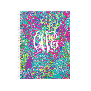 Lilly Pulitzer Jungle Tumble Monogrammed Mini Notebook  www.tinytulip.com White Interlocking Font