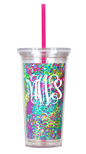 Monogrammed Lilly Pulitzer Acrylic Tumbler with Lilly's Lagoon www.tinytulip.com White Interlocking font