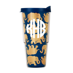Lilly Pulitzer Monogrammed Tusk in Sun Large Tumbler with Lid www.tinytulip.com White Circle Monogram