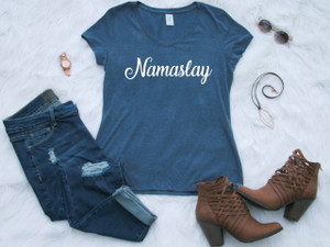 Ladies V-neck Navy Graphic Tee Namaslay www.tinytulip.com